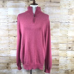 J. Crew Light Red 1/4 Zipper Ribbed Sweater Sz L